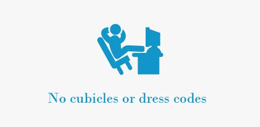 No cubicles or dress codes